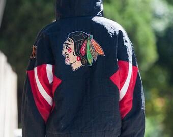 90's Blackhawks Hoodie / Jacket / Windbreaker