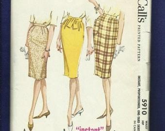 1960's McCalls 5910 Mid Century Modern Pencil Skirts Size 12