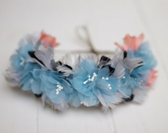 Glasgow - Floral Crown made with blue flowers, grey and black feathers