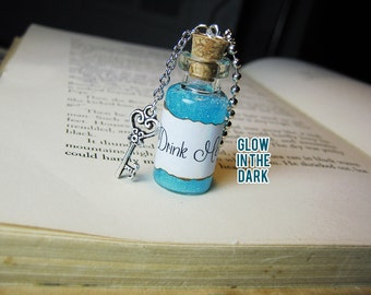 Drink Me Necklace -  Alice in Wonderland - Glass Bottle Necklace Charm - Glow in the Dark Vial Potion