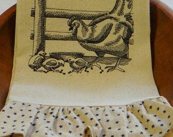 Hen and Chicks Ruffled Osnaburg Kitchen Towel