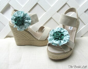 Mint Green Shoe Clips, Green Shoe Flower Clips, Mint Green Wedding Shoes, Matching Items Available