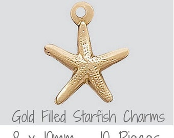 14k Gold Filled Charm Starfish w/Ring 8mm , 10 Pieces, Made in USA