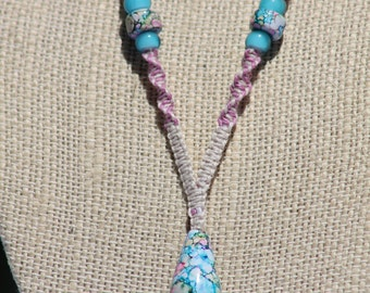 Pink and Blue Tear drop Necklace