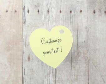 Custom Wedding Tags Set of 20 - Yellow Heart Tags - Bridal Shower Tags - Wedding Favor Tags - Light Yellow Heart Tags - Die Cut Heart