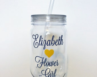 Flower Girl Gift, Flower Girl Tumbler, Flower Girl Cup, Navy and Yellow Wedding, Customized Bride Cup, Bride Cup, Bridesmaid Cups, Cups