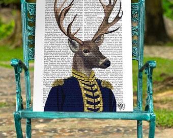 Captain Deer, Deer Print in military uniform Deer art print military print military gift for men Groomsmen gift mens gift for groom man cave