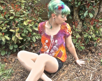 REDUCED Scarlet Begonias Upcycled Women's Tie Dye Blouse