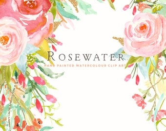 Watercolour Flower Clip Art Collection - Hand Painted Graphics - Rosewater