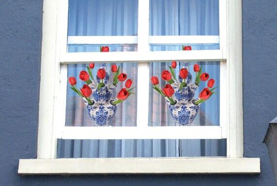 2 stuks  Flat Flowers Raamstickers Delft Red Delftsblauw