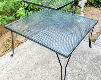 Vintage Mid Century Modern Glass Two-Tier Cast Iron Corner End Table