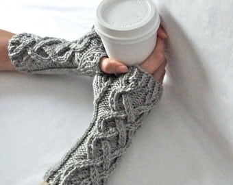 Grey Cable Knit Fingerless Gloves, Merino Wool, Fingerless Mittens, Hand Warmers, Arm Warmers, Wrist Warmers, Celtic Knit, Gray Knitwear