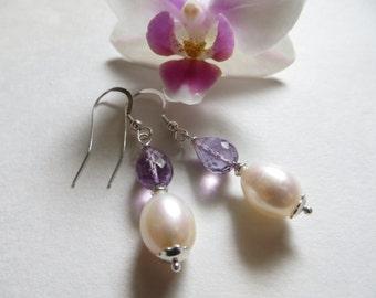 Amethyst Briolette Earrings, Pearl Earrings, Faceted Amethyst Semi Precious February June Birthstone Earrings, Sterling Silver Earrings