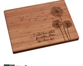 Mothers Day Personalized/ Engraved Cutting Board with Dandelion design, Custom Cutting Board