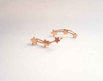 Three Stars Rose Gold-Plated Sterling Silver Earring Pins