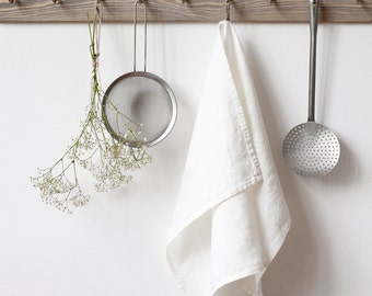 White Stone Washed Linen Tea Towel