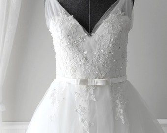 Custom Made to Order Classic V Neck Vintage Style Wedding Dress with Deep V Back  Flowy Tulle with Eyelet Lace Skirt