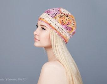 Women's flower hat Summer beanies Crochet women's hats Summer women's hat Hat handmade crochet Handmade girls hats Girls crochet hat