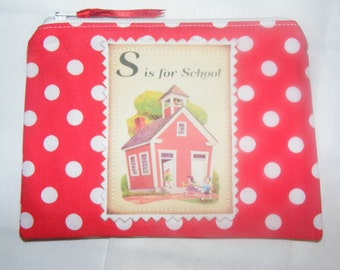 Teacher Gift Retro School Coin Purse / Mobile Pouch / Wallet Mini Make up Bag Handmade