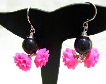 Pink Chrysanthemum Earrings
