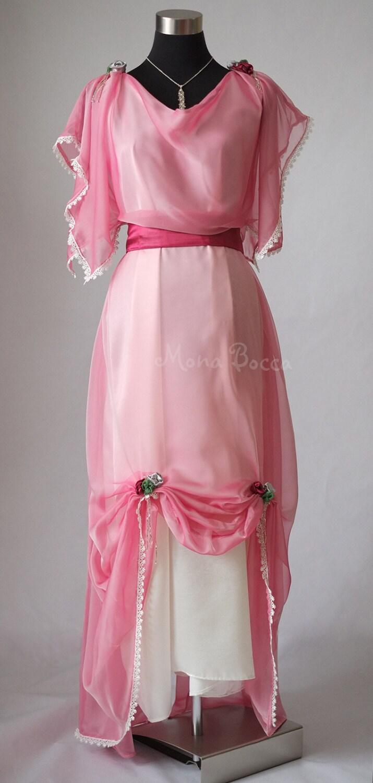 edwardian pastell rosa abendkleid in england downton abbey. Black Bedroom Furniture Sets. Home Design Ideas
