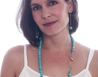 Long turquoise necklace - Long beaded necklace - Anniversary gift
