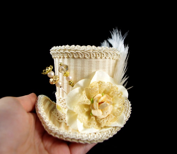 Cream Striped Paper Flower and Lace Small Mini Top Hat Fascinator, Alice in Wonderland, Mad Hatter Tea Party, Derby Hat