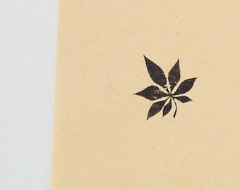 Small Chestnut Leaf Stamp - Botanical Carved Rubber Stamp for diy stationary, scrapbooking