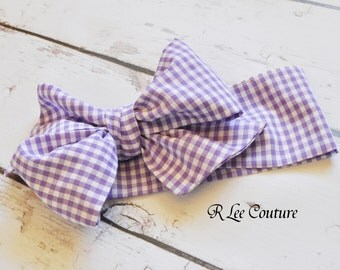 Lavender Gingham Headwrap -  Bow Headwrap - Lavender Head Wrap - Baby Headwrap - Lavender Gingham Bow