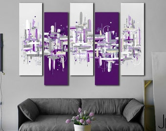 Original Abstract Painting 41x64 Purple 5 Piece Canvas Art Large