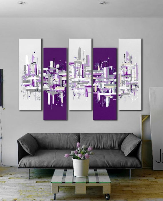 peinture abstraite 41 x 64 violet peinture 5 pi ce art. Black Bedroom Furniture Sets. Home Design Ideas