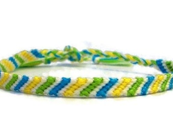 Blue Green Yellow and White Candy Stripe Pattern Embroidery Macrame Friendship Bracelet
