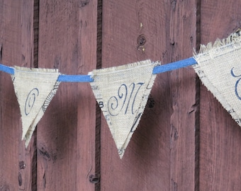 Rustic Burlap Hand Stenciled HOME Banner