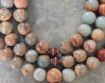 Aqua Terra Jasper Mala 108 Beads with Knot End / Meditation / Prayer Beads