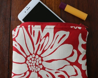 Cosmetic Bag, Accessory Bag, Makeup Bag, Zippered Pouch - Bright Red and Cream Zipper Pouch, Floral Bag, Navy Lining