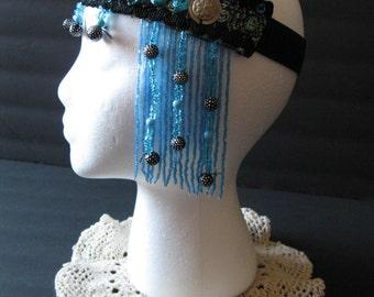 Bellydance, Blue and black headband, tribaret, tribal fusion, headdress, belly dance