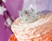 Silver & Crystals Wedding Cake Topper\Lace crown cake topper\silver beads/crown photography prop\princess party\birthday\party decoration\