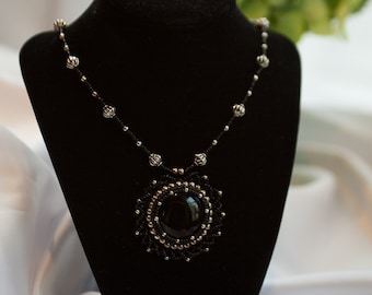 Black Onyx Cabachon Beaded Necklace