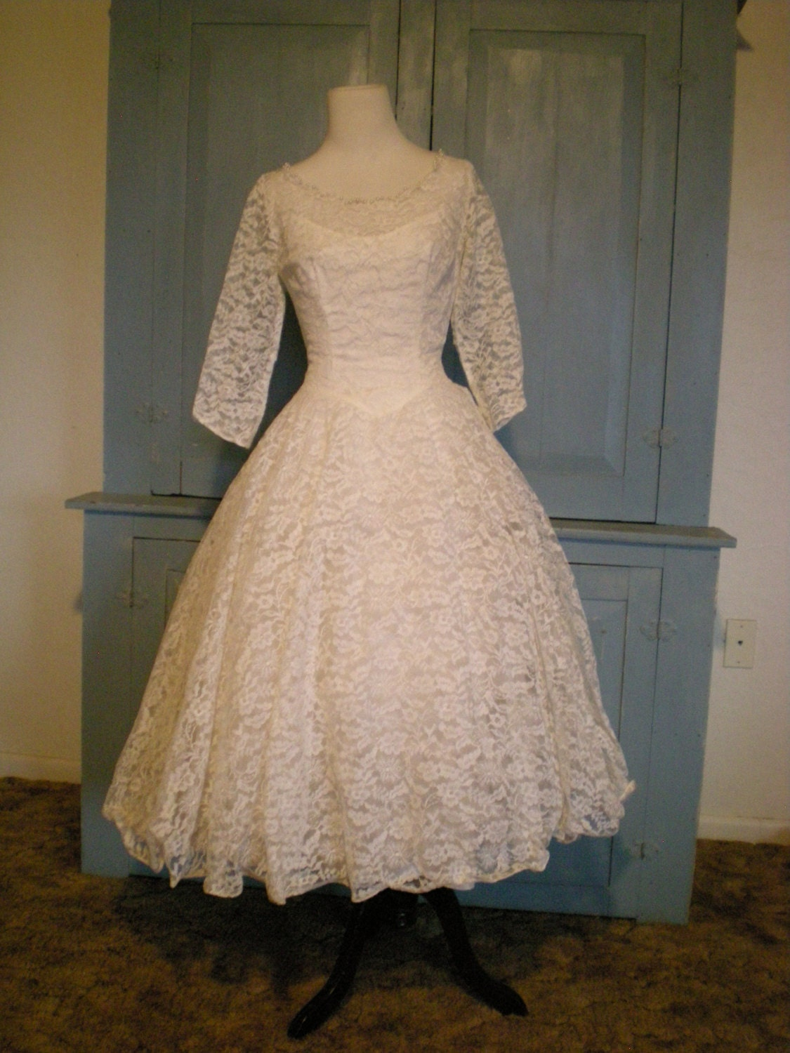 Vintage 1950s Rockabilly White Lace Wedding Dress