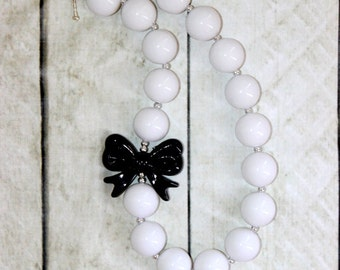 white black bubblegum necklace chunky bead formal necklace Christmas flower girl necklace beaded necklace for toddler girls birthday