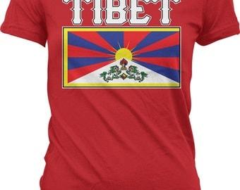 Tibet Flag Ladies T-shirt, Tibetan Flag, Tibetan Empire, Tibetan Pride, Junior and Women's Tibet Flag T-shirts GH_01638