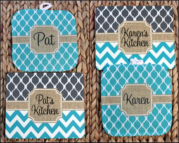 Cooking Gift for Her Baking Gift Pot Holder and Matching Hardboard Trivet Set Monogrammed Gift Set Personalized Gifts for Cooks For Her