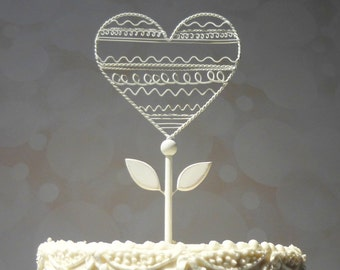 Wire Wedding Topper,  Wire Heart Cake Topper, Wire Cake Topper, Heart Wedding Cake Topper White