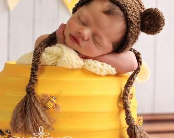 Newborn Bear Hat - Gender Neutral Prop - Bear Bonnet - Baby Bear Hat- Newborn Prop - Newborn Photo Prop - Baby Bear Hat - Crochet Bear Hat