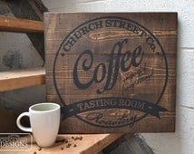 Coffee Decor - Coffee Wall Art - Customize This Sign With Your Name or Company - Industrial Art