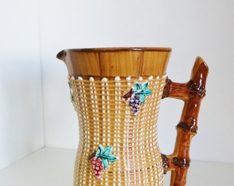 Vintage Majolica Pitcher Jug Basket Weave And Bamboo Design Made in Italy Circa 1960s