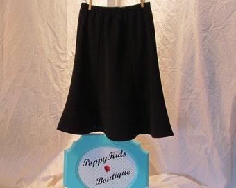 Black Trumpet-style flared girls skirt modest dressy twirly sizes 3 to 14