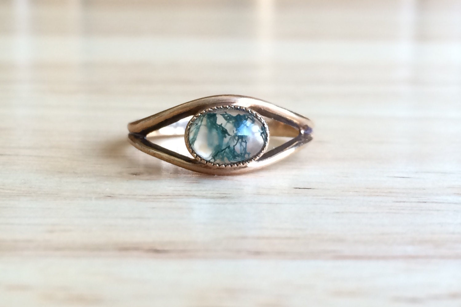 Golden Moss Agate: Vintage 9ct Yellow Gold Moss Agate Stone Eye Ring Size 7