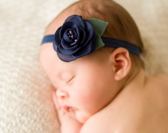 Navy Rose Headband, Navy Baby Headband, Navy Rosette Headband, Newborn Photo Prop, Baby Shower Gift, Newborn Headband, Flower Girl Headband