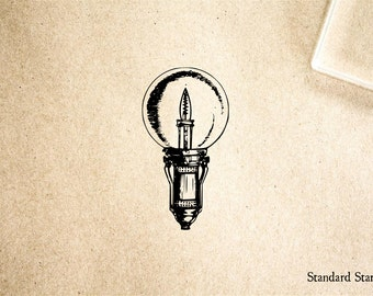 Lightbulb Vintage Round Rubber Stamp - 2 x 2 inches